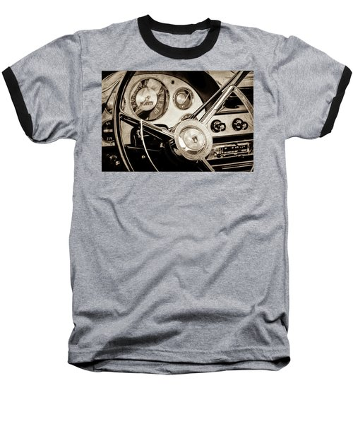Baseball T-Shirt featuring the photograph 1956 Ford Victoria Steering Wheel -0461s by Jill Reger