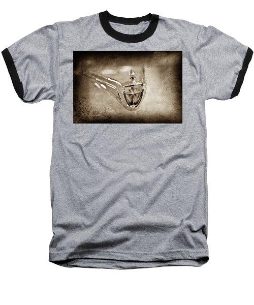 Baseball T-Shirt featuring the photograph 1956 Lincoln Premier Convertible Hood Ornament -0832s by Jill Reger