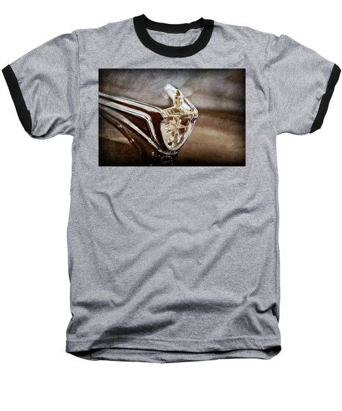 Baseball T-Shirt featuring the photograph 1956 Lincoln Premiere Convertible Hood Ornament -2797ac by Jill Reger