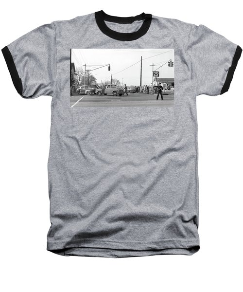 1957 Car Accident Baseball T-Shirt by Paul Seymour
