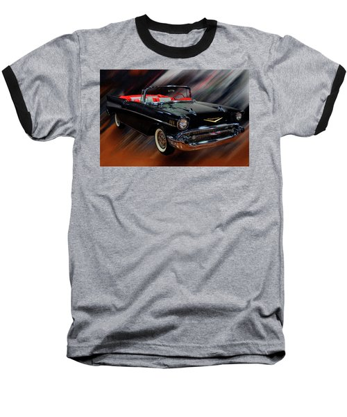 1957 Chevy Bel Air Convertible Digital Oil Baseball T-Shirt
