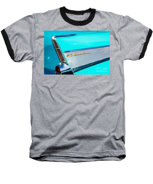 Baseball T-Shirt featuring the photograph 1957 Chevy Bel Air Rear Fin by Aloha Art