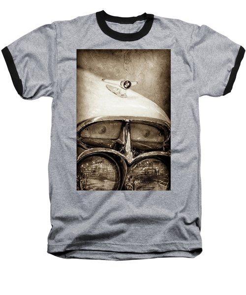 Baseball T-Shirt featuring the photograph 1957 Mercury Turnpike Cruiser Emblem -0749s by Jill Reger