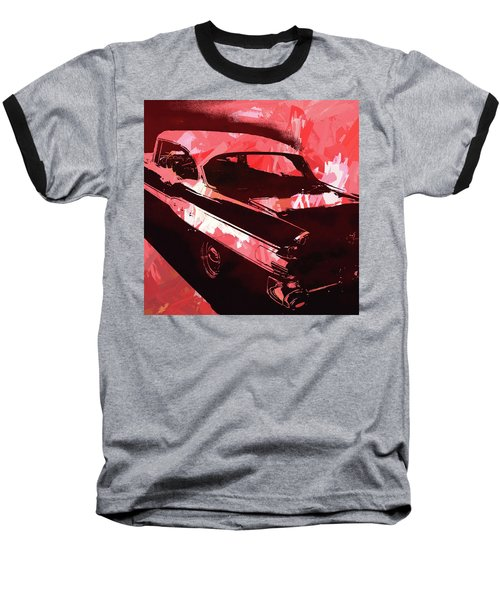 1957 Pontiac Super Chief Red Pop Baseball T-Shirt