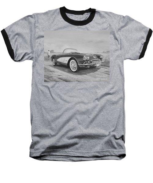 1959 Chevrolet Corvette Cabriolet In Black And White Baseball T-Shirt