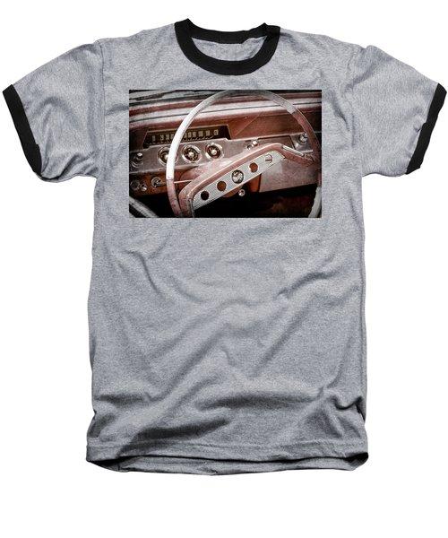 Baseball T-Shirt featuring the photograph 1961 Chevrolet Impala Ss Steering Wheel Emblem -1156ac by Jill Reger