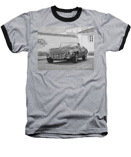 1961 Jaguar Xke Cabriolet In Black And White Baseball T-Shirt