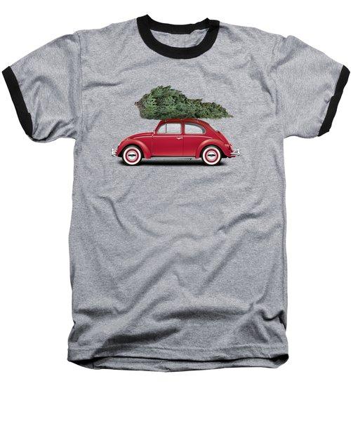 1962 Volkswagen Deluxe Sedan - Ruby Red W/ Christmas Tree Baseball T-Shirt by Ed Jackson
