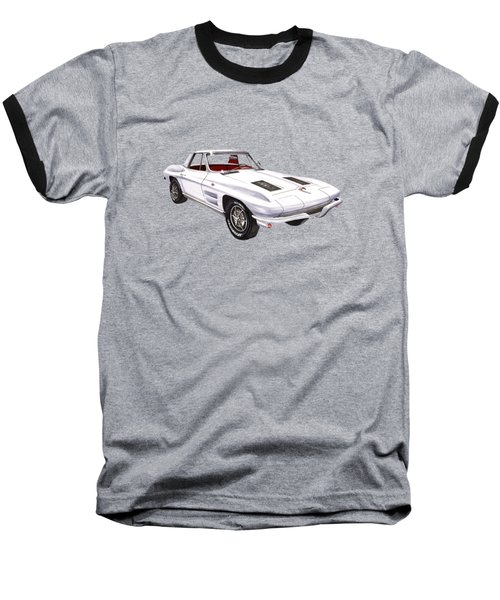 Corvette Sting Ray 1963 Baseball T-Shirt by Jack Pumphrey