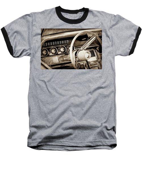 Baseball T-Shirt featuring the photograph 1964 Ford Thunderbird Steering Wheel -0280s by Jill Reger