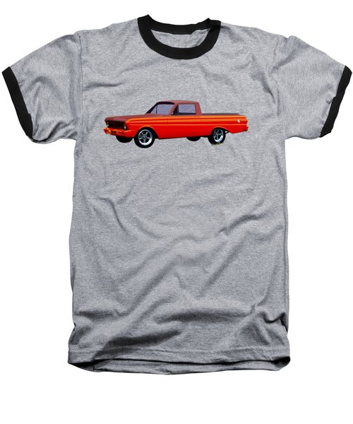 1965 Ford Falcon Ranchero Day At The Beach Baseball T-Shirt by Chas Sinklier
