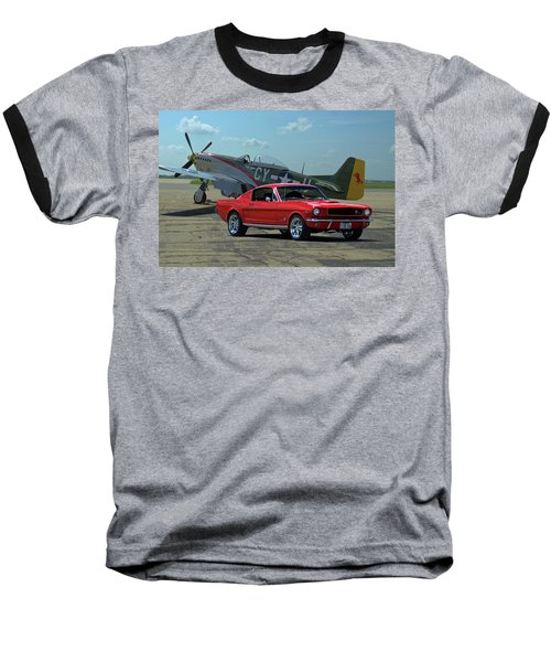 1965 Mustang Fastback And P51 Mustang Baseball T-Shirt