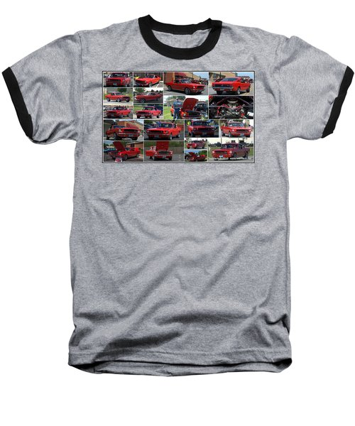 1965 Mustang Fastback Collage Baseball T-Shirt