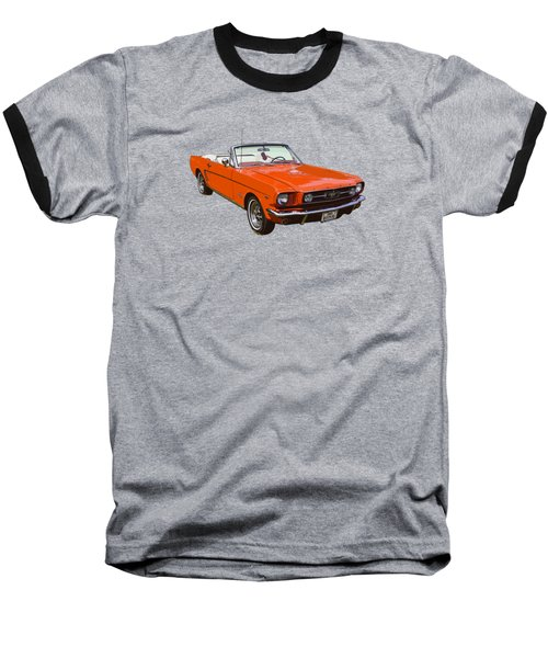 1965 Red Convertible Ford Mustang - Classic Car Baseball T-Shirt