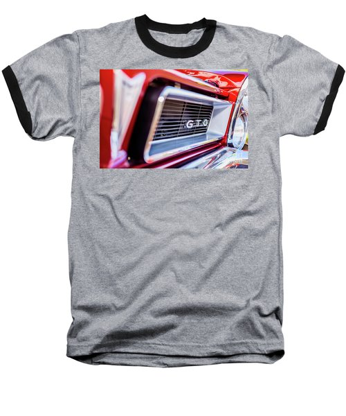 Baseball T-Shirt featuring the photograph 1965 Red Gto Grill by Aloha Art