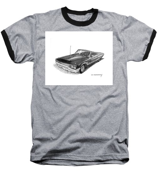 Baseball T-Shirt featuring the drawing 1965 Thunderbird Convertible By Ford by Jack Pumphrey