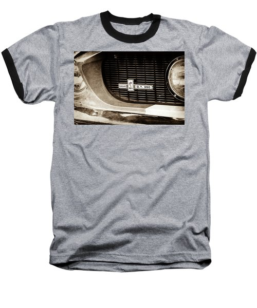 Baseball T-Shirt featuring the photograph 1967 Ford Gt 350 Shelby Clone Grille Emblem -0759s by Jill Reger