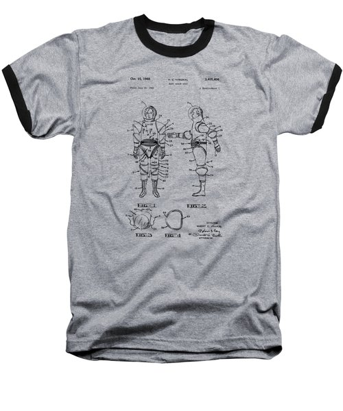 1968 Hard Space Suit Patent Artwork - Vintage Baseball T-Shirt by Nikki Marie Smith
