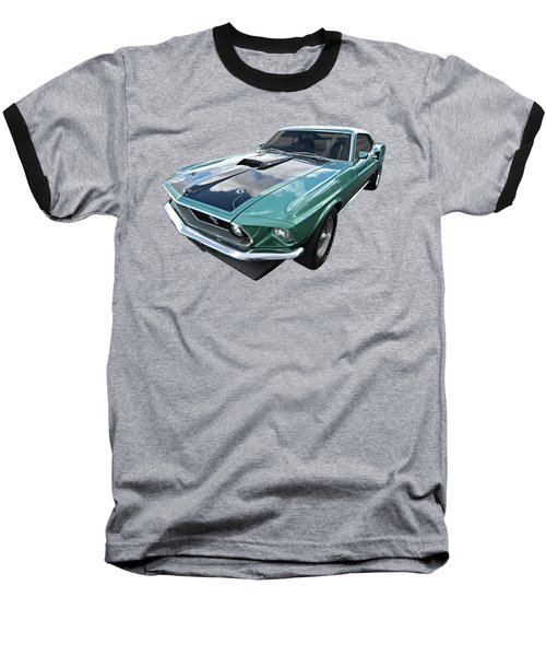 1969 Green 428 Mach 1 Cobra Jet Ford Mustang Baseball T-Shirt