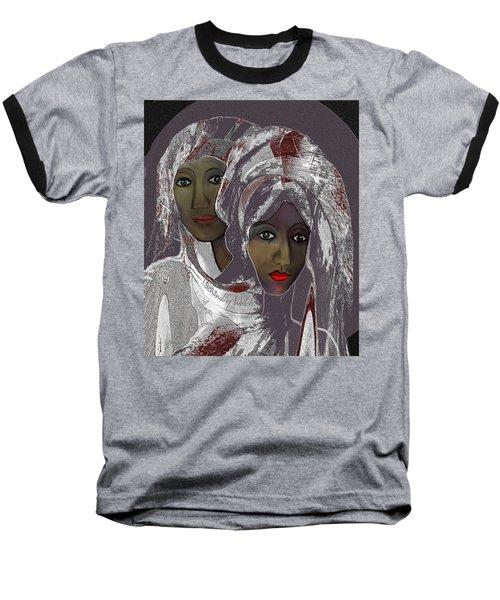 Baseball T-Shirt featuring the digital art 1969 -  White Veils by Irmgard Schoendorf Welch