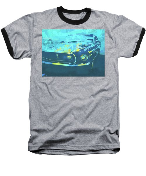 1969 Mustang Mach 1 Blue Pop Baseball T-Shirt