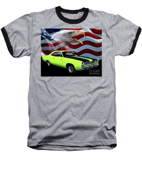 1969 Plymouth Road Runner Tribute Baseball T-Shirt by Peter Piatt