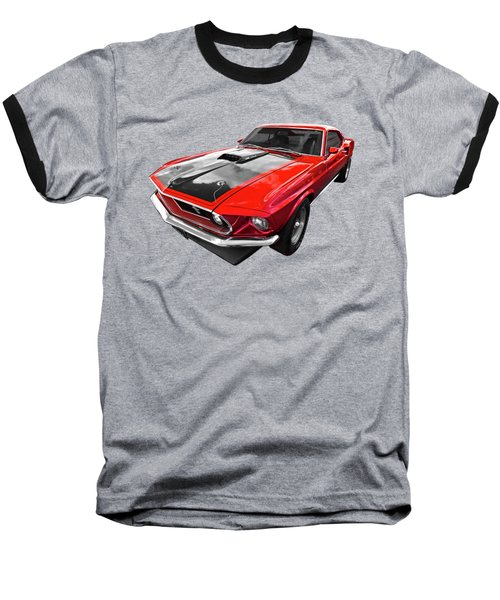 1969 Red 428 Mach 1 Cobra Jet Mustang Baseball T-Shirt