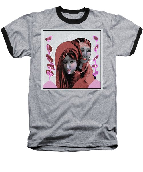 Baseball T-Shirt featuring the digital art 1971- Rosecoloured Portrait 2017 by Irmgard Schoendorf Welch