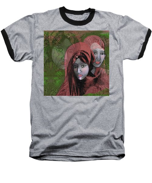 Baseball T-Shirt featuring the digital art 1974 - Women In Rosecoloured Clothes - 2017 by Irmgard Schoendorf Welch