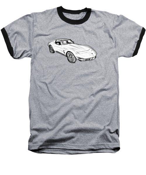 1975 Corvette Stingray Sports Car Illustration Baseball T-Shirt