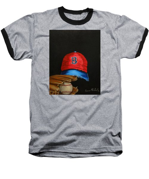 Baseball T-Shirt featuring the painting 1975 Red Sox by Susan Roberts