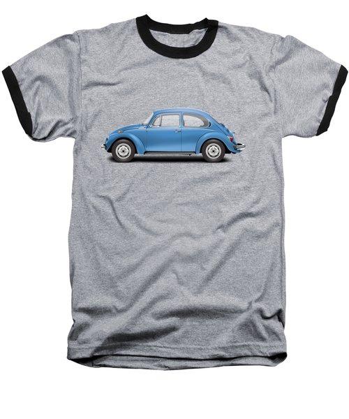 1975 Volkswagen Super Beetle - Ancona Blue Metallic Baseball T-Shirt by Ed Jackson