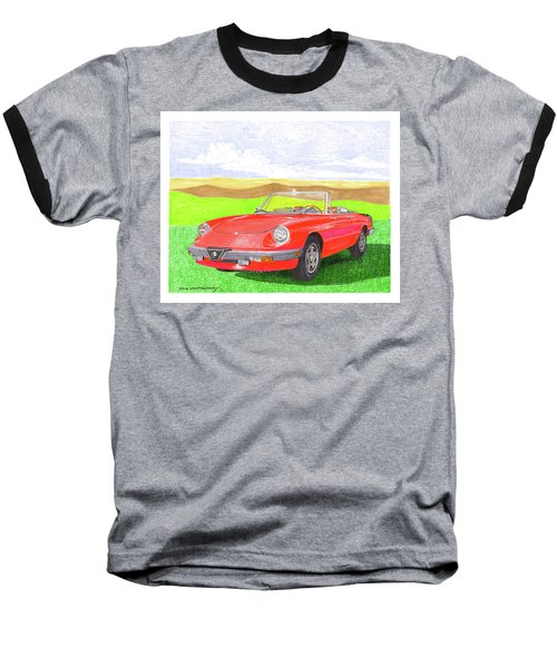 Baseball T-Shirt featuring the painting 1983 Alfa Romero Spider Veloce by Jack Pumphrey