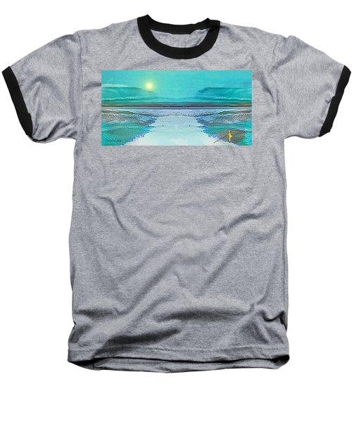 Baseball T-Shirt featuring the digital art 1983 - Blue Waterland -  2017 by Irmgard Schoendorf Welch