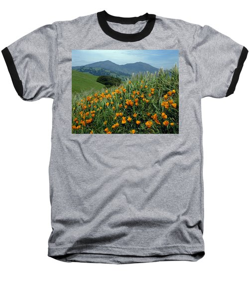 1a6493 Mt. Diablo And Poppies Baseball T-Shirt
