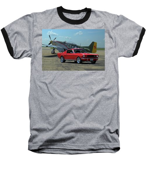 1965 Mustang Fastback Baseball T-Shirt by Tim McCullough