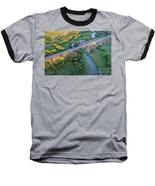 aerial view of Dismal River in Nebraska Baseball T-Shirt