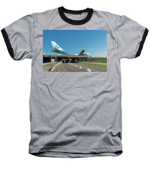 Airplane Over Highway Baseball T-Shirt by Hans Engbers
