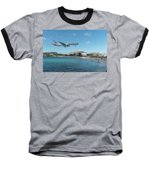 American Airlines Landing At St. Maarten Baseball T-Shirt by David Gleeson