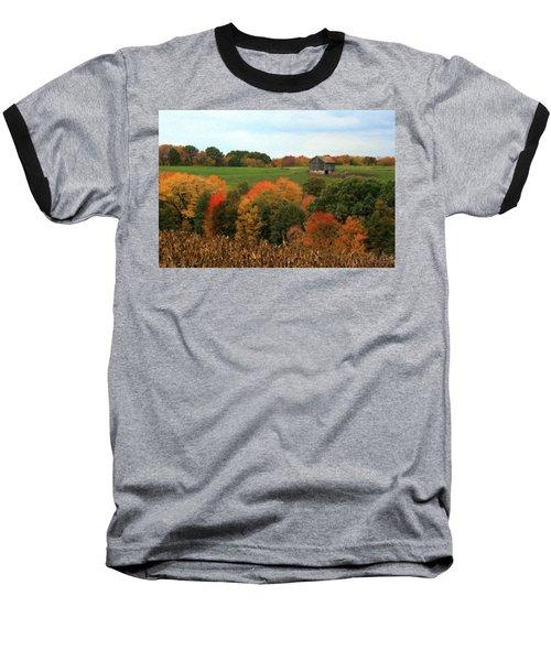Barn On Autumn Hillside Baseball T-Shirt