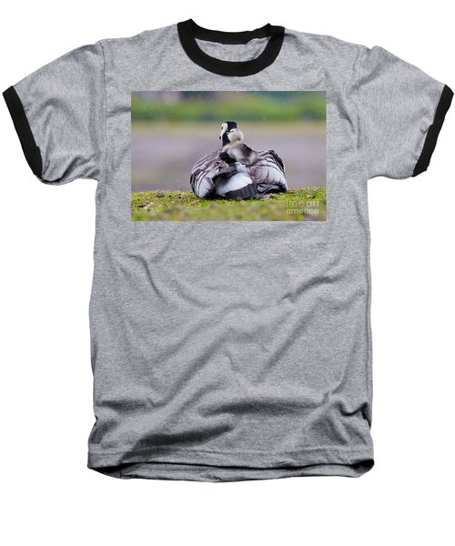 Barnacle Goose With Chick In The Rain Baseball T-Shirt