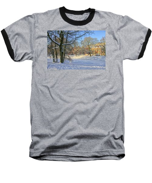 Beautiful Park In Winter With Snow Baseball T-Shirt