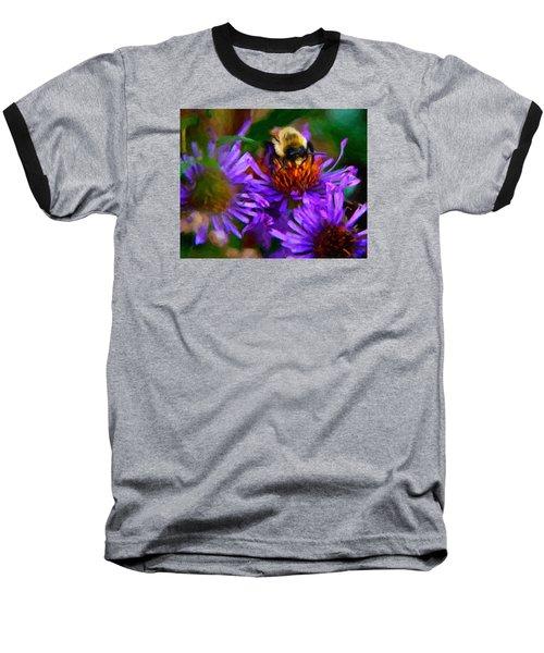 Bee On Purple Flower Baseball T-Shirt by Andre Faubert