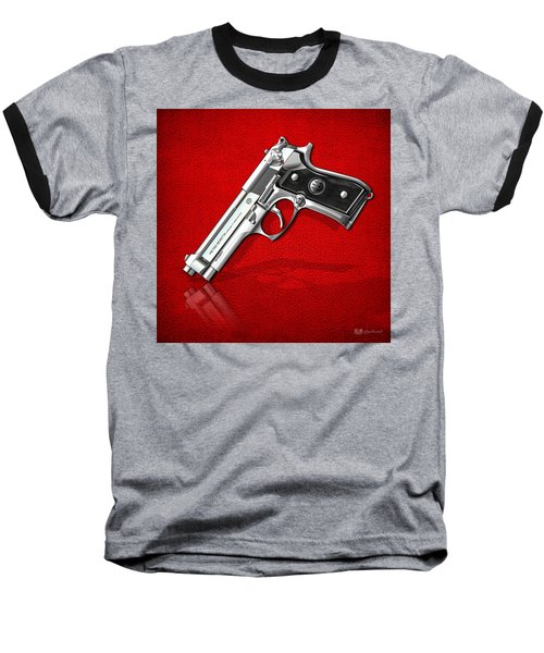 Beretta 92fs Inox Over Red Leather  Baseball T-Shirt by Serge Averbukh