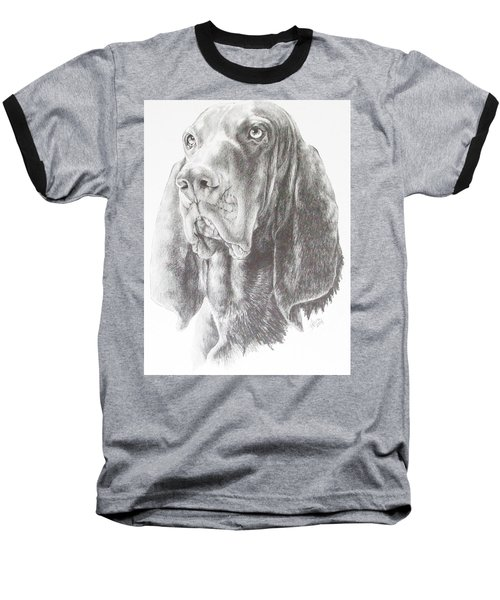 Baseball T-Shirt featuring the drawing Black And Tan Coonhound by Barbara Keith