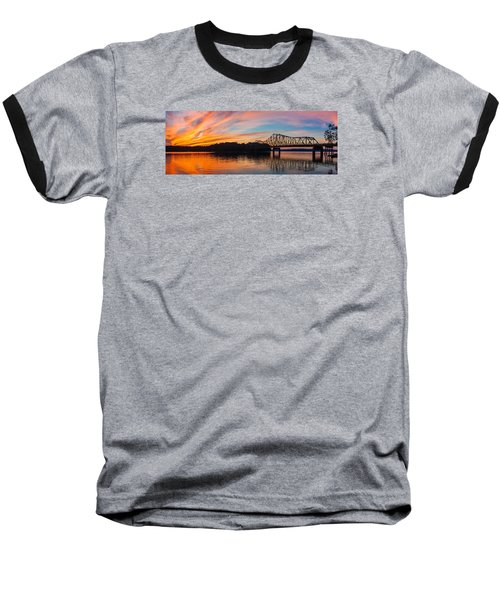 Browns Bridge Sunset Baseball T-Shirt by Michael Sussman