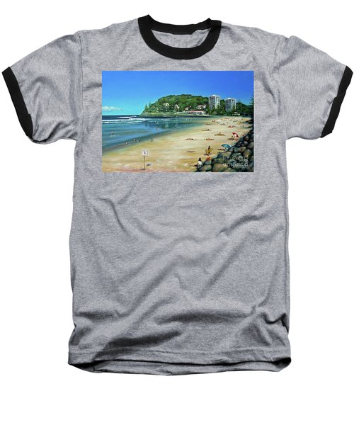 Baseball T-Shirt featuring the painting Burleigh Beach 100910 by Selena Boron