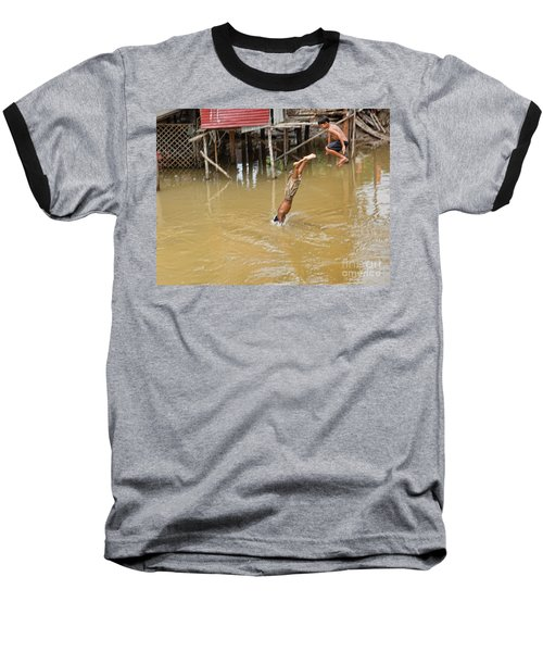 2 Cambodian Boys Dive Color Baseball T-Shirt by Chuck Kuhn