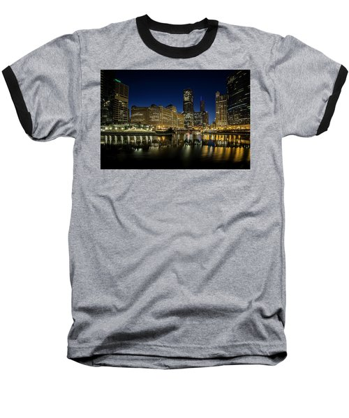 Chicago River And Skyline At Dawn Baseball T-Shirt