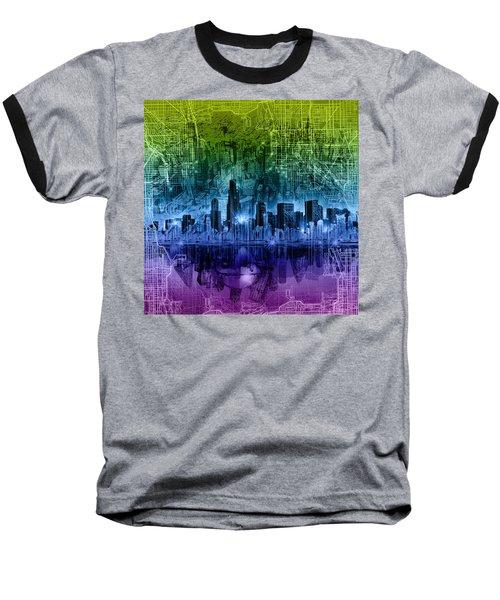 Chicago Skyline Abstract Baseball T-Shirt by Bekim Art